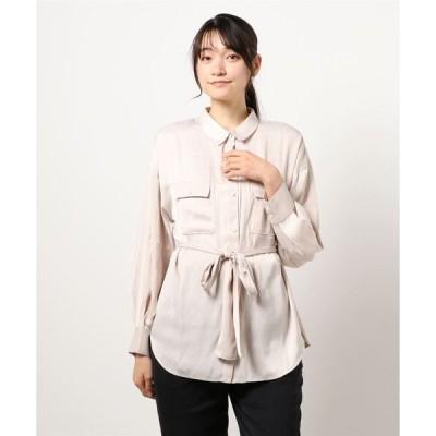 シャツ ブラウス ニュアンスカラー 長袖 とろみロングシャツ
