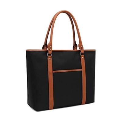 ラップトップバッグ、ラップトップトートバッグ 防水ナイロン作業バッグ ブリーフケース 15.6-inch ブラ