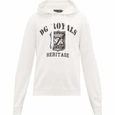 ドルチェandガッバーナ Dolce and Gabbana メンズ パーカー トップス Logo-print cotton hooded sweatshirt White