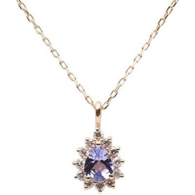 Color Jewels ペンダント タンザナイト K10 ネックレス レディース