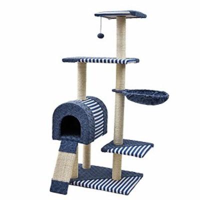 【送料無料】(エスライフ)S-Lifeeling キャットタワー 縞柄 猫タワー ハンモック 据え置き スリム 階段付き 爪とぎ 麻紐 猫ハウス 隠れ家