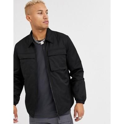 エイソス メンズ ジャケット・ブルゾン アウター ASOS DESIGN quilted jacket with utility details in black