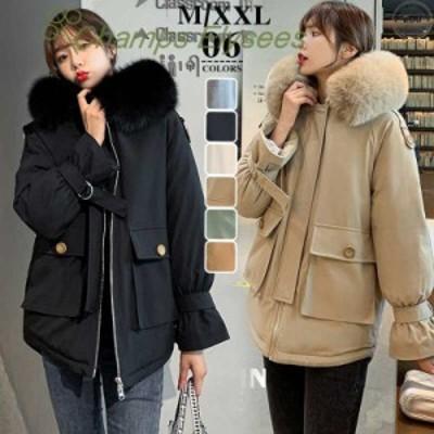 ダウンジャケット フード付き ダウンコートレディース 2020韓国風新作 大きいサイズ 防寒 長袖 アウター 全6色 きれいめ 無地 20代~50