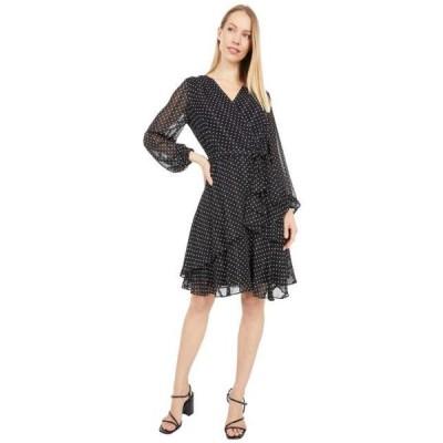 ユニセックス スカート ドレス Long Sleeve Surplus Mock Wrap Tiered Polka Dot Dress