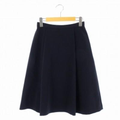 【中古】エムプルミエ ブラック M-Premier BLACK 18年 フレアスカート ミモレ丈 ロング 36 紺 /KN レディース