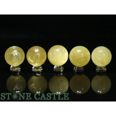 置石一点物 天然石 置き石 丸玉 ゴールデンカルサイト (5個セット) No.16 パワーストーン