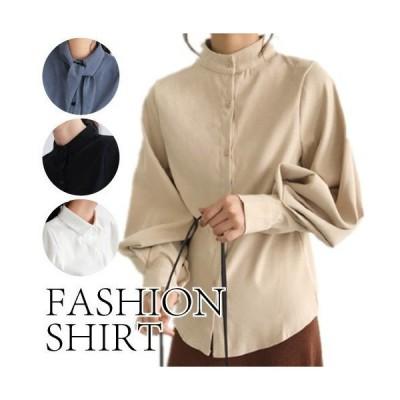 トップスシャツ春夏ハイネックレディースシンプルナチュラルかわいいブルーブラック