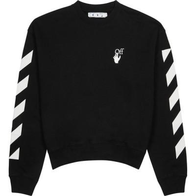 オフホワイト Off-White メンズ スウェット・トレーナー トップス diagonal agreement black cotton sweatshirt Black