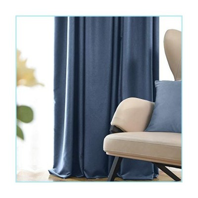 新品Fmfunctex Blue 100 Full Blackout Curtains Bedroom 84 inches Velvet Like Curtains for Dorm Room Energy Efficient Window Draperies Panel