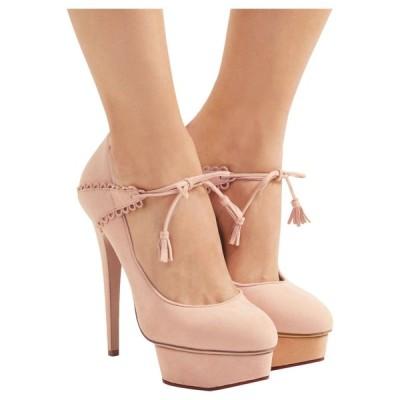 ハイヒール シャーロットオリンピア Charlotte Olympia OPHELIA Suede Platform Pumps Blush Shoes 38.5 39.5