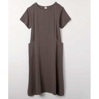 【ゆったりワンサイズ】BIGポケット付半袖ワンピース (ワンピース)Dress