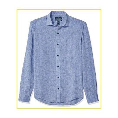 新品BUTTONED DOWN Men's Tailored Fit Casual Linen Cotton Shirt, Blue Chambray, Medium Short並行輸入品