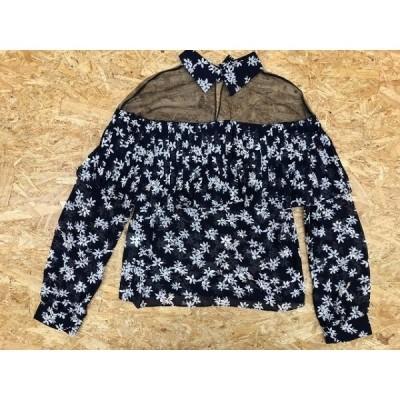 BEYOND ビヨンド サイズ不明(肩幅47cm) レディース ブラウス シャツ シースルートップス 花柄 フラワー ポリ100% 紺×オフホワイト