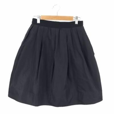 【中古】ミュゲ muguet スカート フレア ミニ シルク タック 36 黒 ブラック /TM レディース