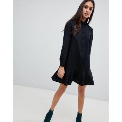 エイソス レディース ワンピース トップス ASOS DESIGN Peplum Mini Shirt Dress Black