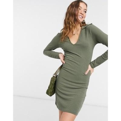 ニュールック レディース ワンピース トップス New Look soft ribbed collar mini dress in olive green