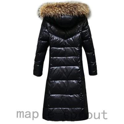 秋冬新品!ダウンジャケットレディース暖かいダウンコートブラックロング丈着痩せフード付きアウター防寒性長袖大きいサイズ