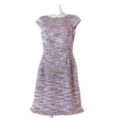 【中古】トッカ ワンピース ドレス ノースリーブ 膝丈 半袖 フレンチスリーブ ツイード 紫 パープル パーティー IBS94