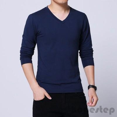 長袖Tシャツ メンズ Vネック ロンT  綿 無地 大きいサイズ カジュアルTシャツ シンプル ストレッチ トップス