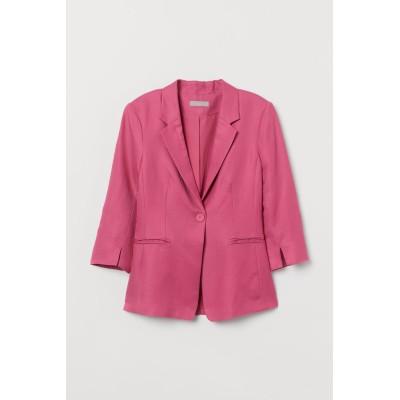 H&M - リネンブレンドジャケット - ピンク