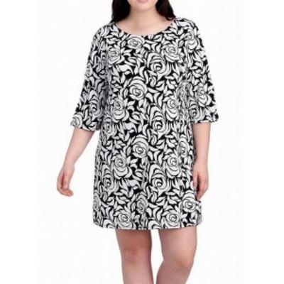 Rose  ファッション ドレス MSK Womens Dress White Black Size 3X Plus Shift Rose Print Stretch
