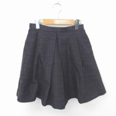 【中古】バンヤードストーム スカート フレア ひざ丈 千鳥格子 バックジップ 綿 コットン 1 紺 茶 ネイビー ブラウン