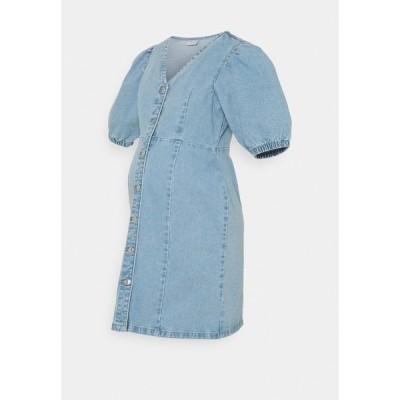ピーシーズ マタニティ ワンピース レディース トップス PCMGILI VNECK DRESS - Denim dress - light blue denim