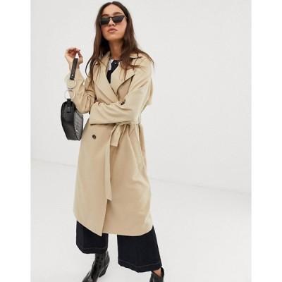 エイソス レディース  コート アウター ASOS Stradivarius trench coat with tortoise effect buttons in beige