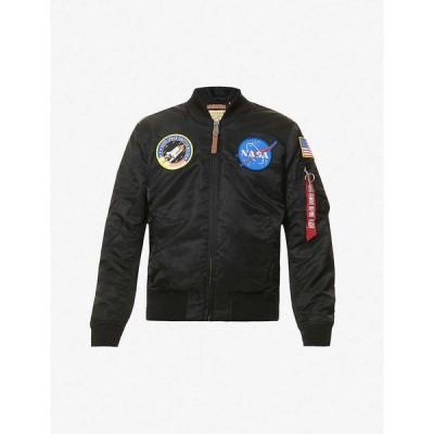 アルファ インダストリーズ ALPHA INDUSTRIES メンズ ブルゾン ミリタリージャケット シェルジャケット アウター MA-1 Nasa shell bomber jacket BLACK