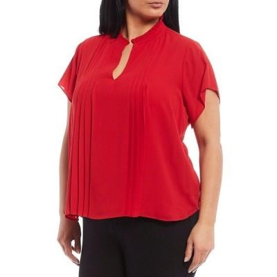 カルバンクライン レディース シャツ トップス Plus Size Ruffle Collar Chiffon Pleat Front Detail Short Sleeve Top Red