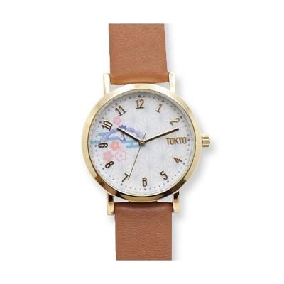 フィールドワーク 腕時計/TOKYO DESIGN 日本製 和柄レザーウォッチ/鶴 ブラウン TD001-2 BR(取)