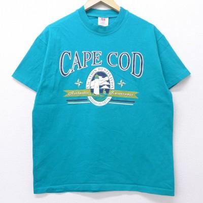 L/古着 半袖 ビンテージ Tシャツ 90s ケープコッド 灯台 コットン クルーネック 青緑 20jul08 中古 メンズ