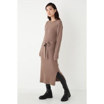 【シェルターセレクト】 ベルトリブミディワンピース(Belted Rib Midi DRESS)/ドレス レディース L/BRN1 FREE SHEL'TTER SELECT