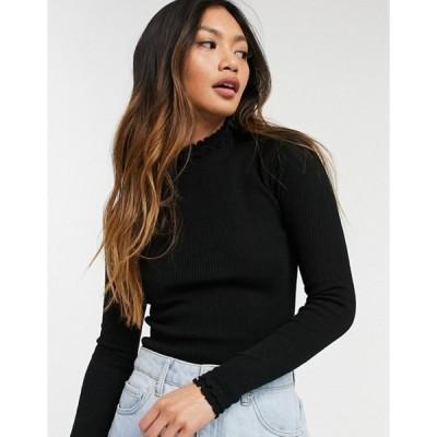 リバーアイランド レディース ニット・セーター アウター River Island ruffle neck lightweight sweater in black
