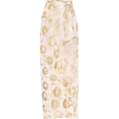 ハルパーン Halpern レディース スカート ラップスカート Floral cotton-voile wrap skirt White Gold