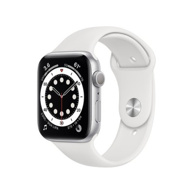 Apple Watch Series 6 GPSモデル 44mm シルバーアルミニウムケースとホワイトスポーツバンド レギュラー M00D3J/A