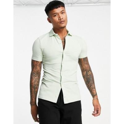 エイソス ワークシャツ メンズ ASOS DESIGN organic button through jersey shirt in light green エイソス ASOS