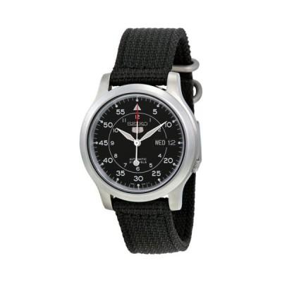 腕時計 セイコー Seiko 5 ブラック ダイヤル ブラック キャンバス メンズ 腕時計 SNK809