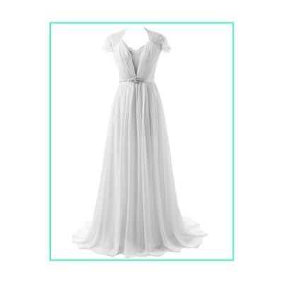 JAEDEN Chiffon Wedding Dresses Cap Sleeve Lace Bridal Gown White US22W並行輸入品