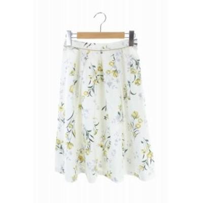 【中古】アプワイザーリッシェ 18SS ミドルシャドーフラワースカート フレア 花柄 ひざ丈 1 白 レディース