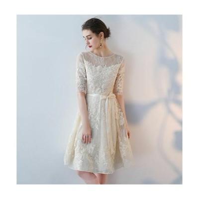 パーティードレス レース ワンピース 結婚式 服装 40代 女性 ドレス レディース ファッション 30代 50代 20代 お呼ばれ 親族 膝丈