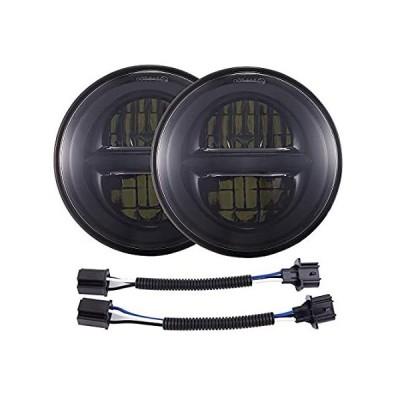 DOT承認 7インチ ラウンド ブラック LED ヘッドライト ハイロービーム ジープラングラー JK TJ LJ CJ H1 H2対応 (1ペア)