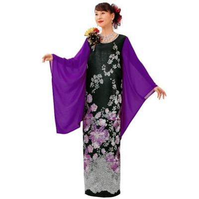 ロングドレス マキシ丈 ブラック パープル 華ジャカードドレス OP447-3614 花柄 ドレス カラオケ ステージ衣装