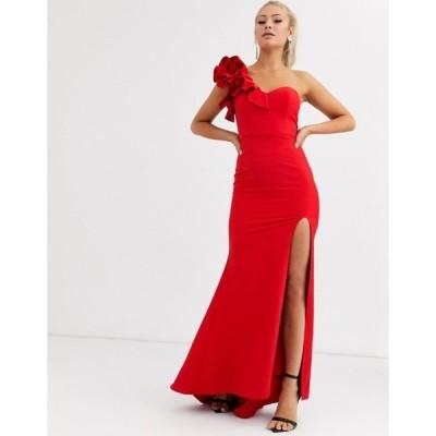 ジャーロ レディース ワンピース トップス Jarlo one shoulder maxi dress with ruffle detail in red