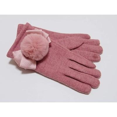 手袋 レディース 裏起毛 ファー付き ラビットファー リボン あったか 毛玉(ピンク, 平置きサイズ:横9cm 縦25cm)