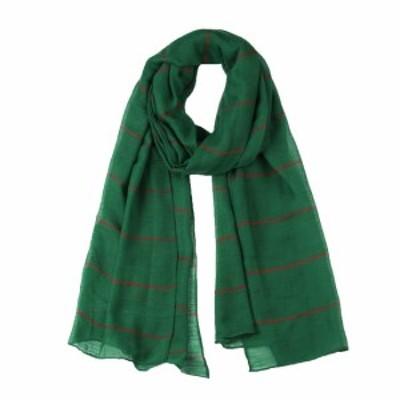 uxcell ロングスカーフ ストライプ柄 スカーフ 薄手 女性用 グリーン-1 180x80cm