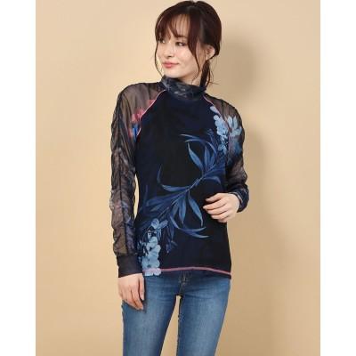 デシグアル Desigual Tシャツ長袖 VANESSA (ブルー)