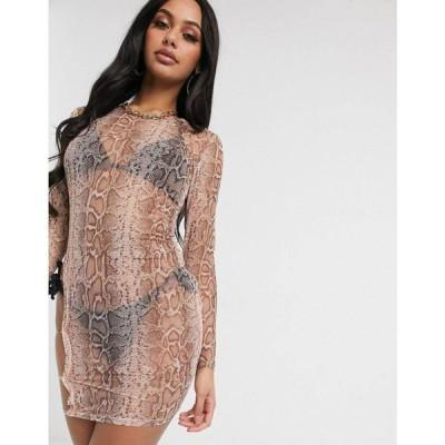 サウスビーチ South Beach レディース ワンピース ミニ丈 ワンピース・ドレス Thigh Detail Sheer Mini Dress ピンクスネーク