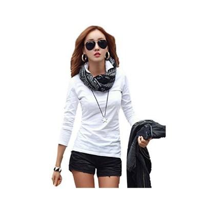 [ロイヤルパイン] Vネック 衿付き 美ライン 長袖 Tシャツ カットソー ポロシャツ レディース 4色 4サイズ
