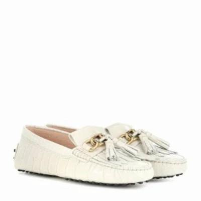 トッズ ローファー・オックスフォード Gommino embossed leather loafers White